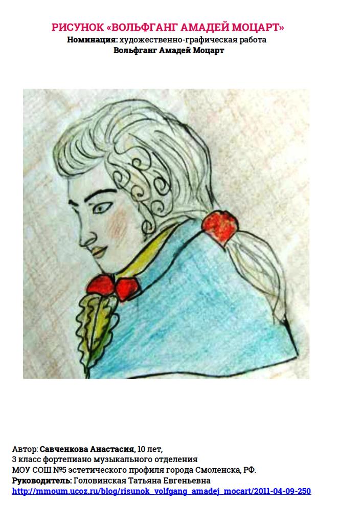 Рисунок «Вольфганг Амадей Моцарт» Савченкова