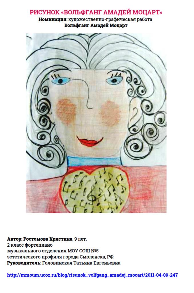 Рисунок «Вольфганг Моцарт» -Ростомова